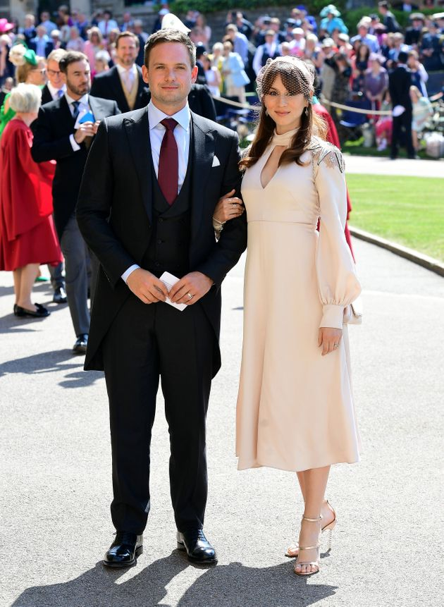 Patrick J. Adams and Troian Bellisario arrive at St George's Chapel at Windsor Castle before the wedding...