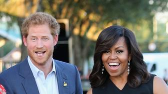ORLANDO, FL - MAY 08:  Prince Harry, First Lady Michelle Obama and presenter Robin Roberts ahead of the Opening Ceremony of the Invictus Games Orlando 2016 at ESPN Wide World of Sports on May 8, 2016 in Orlando, Florida. Prince Harry, patron of the  Invictus Games Foundation is in Orlando ahead of the opening of Invictus Games which will open on Sunday. The Invictus Games is the only International sporting event for wounded, injured and sick servicemen and women. Started in 2014 by Prince Harry the Invictus Games uses the power of Sport to inspire recovery and support rehabilitation.  (Photo by Chris Jackson/Getty Images for Invictus Games)