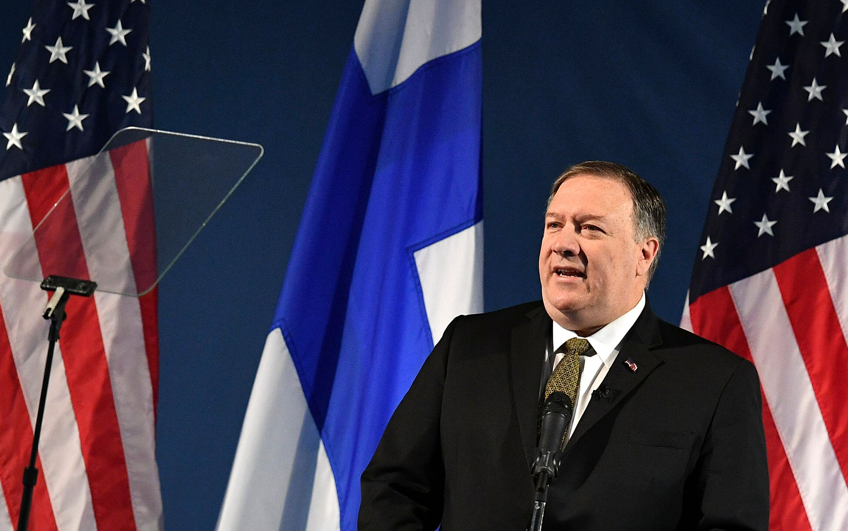 Secretary of State Mike Pompeo speaks on Arctic policy at the Lappi Areena in Rovaniemi, Finland, Monday, May 6, 2019. Pompeo is in Rovaniemi to attend the Arctic Council Ministerial Meeting.  (Mandel Ngan/Pool photo via AP)