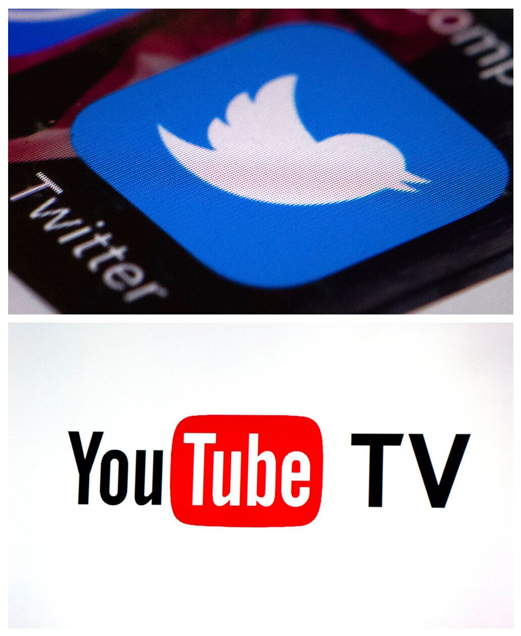 This file photo combo of images shows the Twitter app and YouTube TV logo. Twitter CEO Jack Dorsey is asking for help improving the openness and civility of conversation on Twitter, saying the company failed to prevent misinformation, echo chambers and abuse of its global messaging service. (AP Photo)