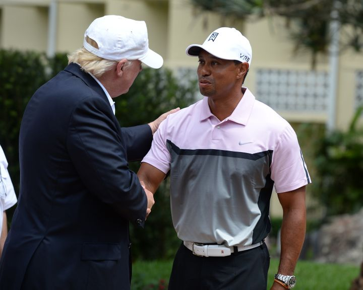 Donald Trump and Tiger Woods at the Tiger Woods Villa before the start of the World Golf Championships-Cadillac Championship