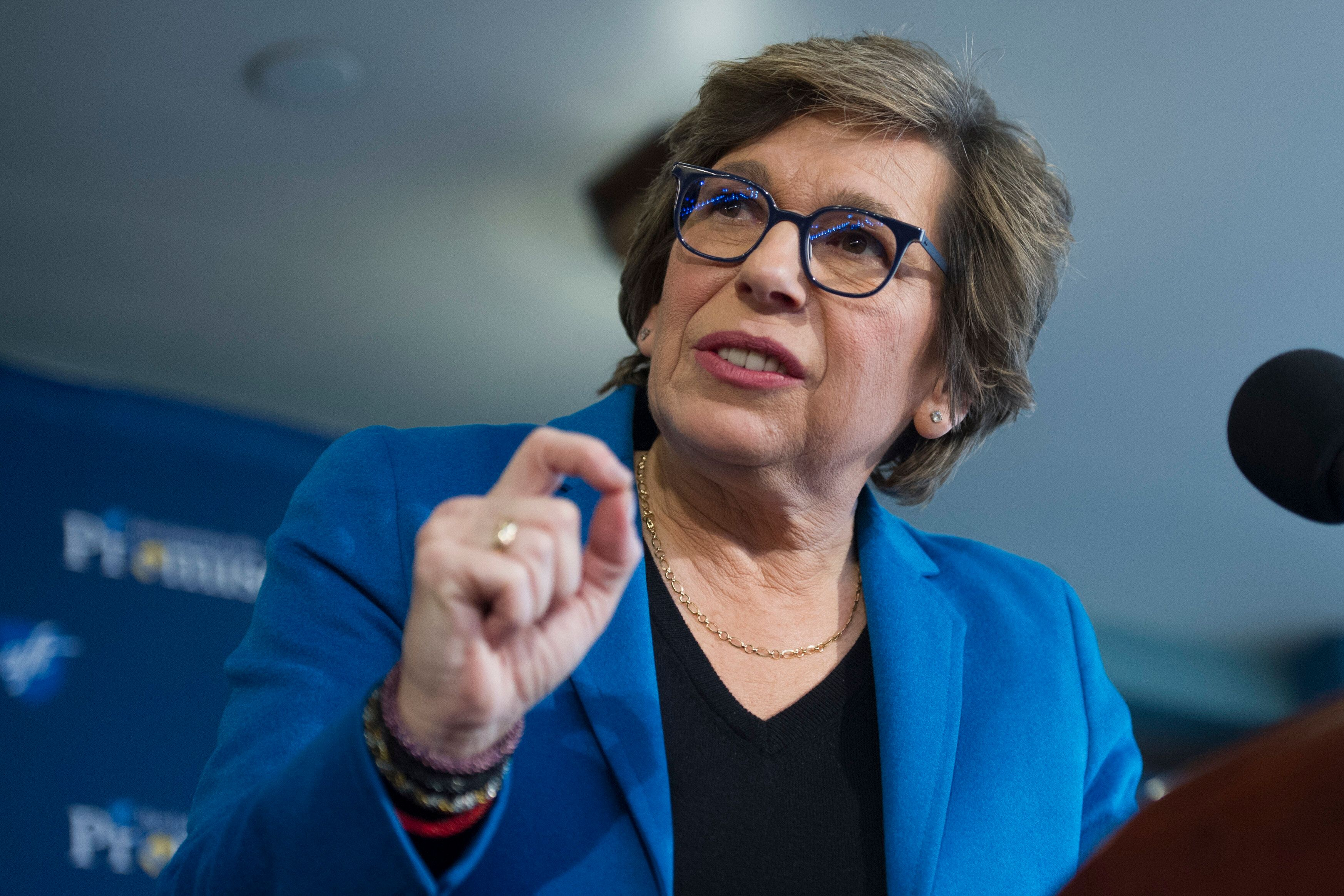American Federation of Teachers President Randi Weingarten speaks about education, Monday, Jan. 9, 2017, at the National Press Club in Washington. Weingarten addressed students needs to succeed and the pitfalls of an anti-public education agenda. (AP Photo/Cliff Owen)