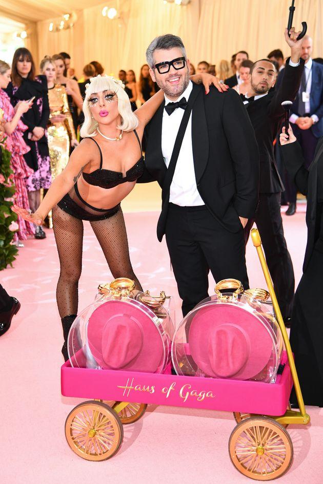 Lady Gaga poses with designer Brandon