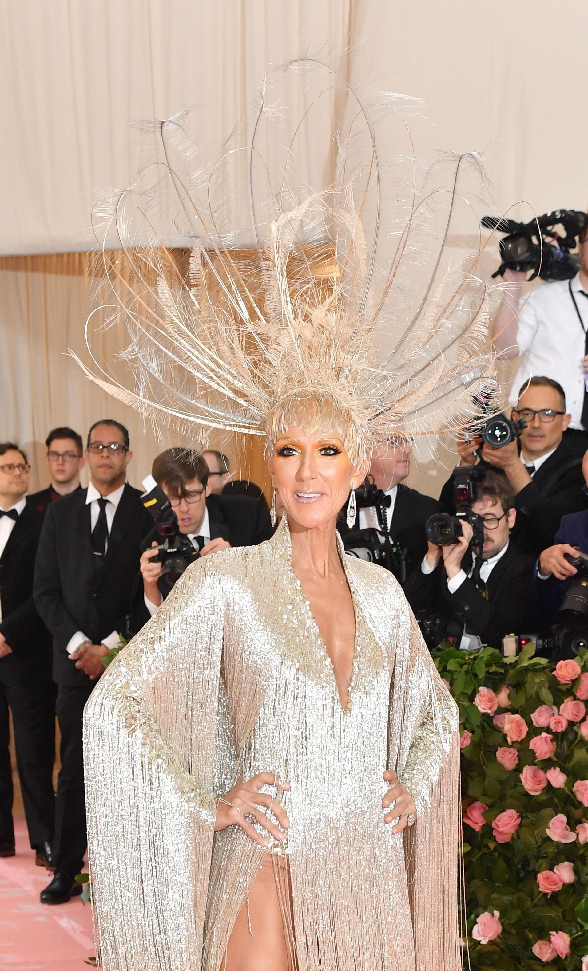 "Canadian singer Celine Dion arrives for the 2019 Met Gala at the Metropolitan Museum of Art on May 6, 2019, in New York. - The Gala raises money for the Metropolitan Museum of Arts Costume Institute. The Gala's 2019 theme is Camp: Notes on Fashion"" inspired by Susan Sontag's 1964 essay ""Notes on Camp"". (Photo by ANGELA WEISS / AFP)        (Photo credit should read ANGELA WEISS/AFP/Getty Images)"