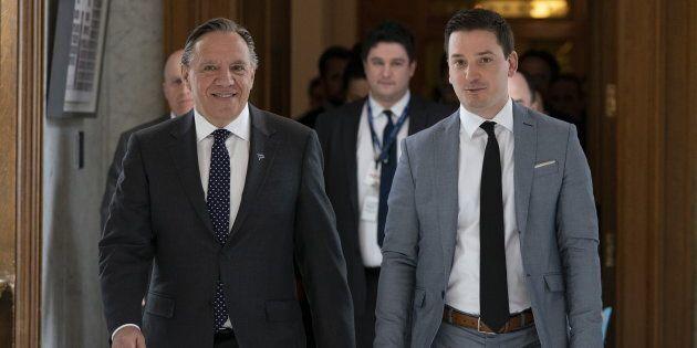 Le premier ministre du Québec, François Legault, et le ministre responsable du dossier de la laïcité, Simon Jolin-Barrette.