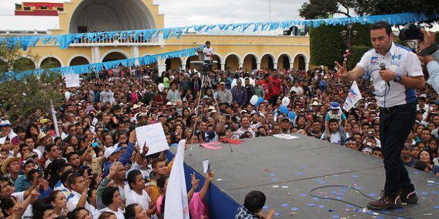 Réunion de partisans de Jimmy Morales, Huehuetenango.