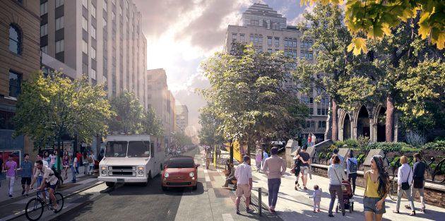 Les piétons auront beaucoup plus de place sur la nouvelle rue Sainte-Catherine.