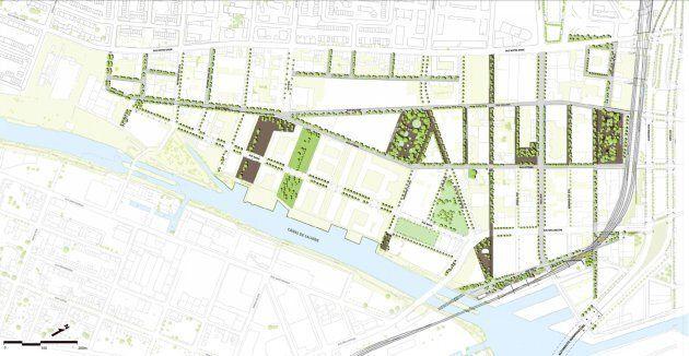 Cette carte montre les interventions planifiées par la Ville de Montréal dans le secteur de