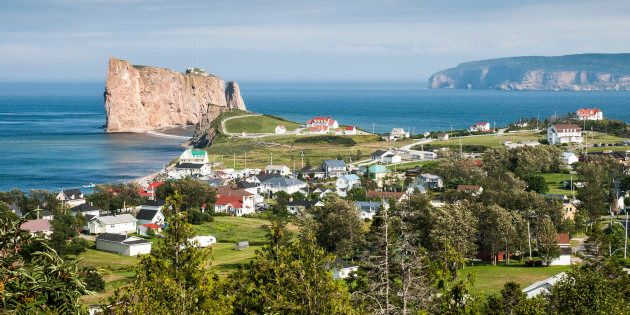 Percé is popular tourism destination during summer in the Gaspésian peninsula in
