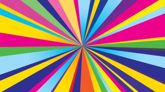 Vector illustration of a psychedelic burst rectangle shaped background.