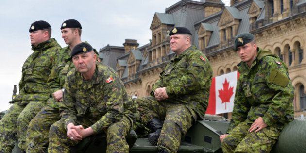 Ottawa, Canada - May 9, 2014: Soldiers who served in the Canadian Forces in Afghanistan were honored...