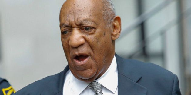 Bill Cosby arrives on the sixth day of jury deliberations of his sexual assault trial at the Montgomery...