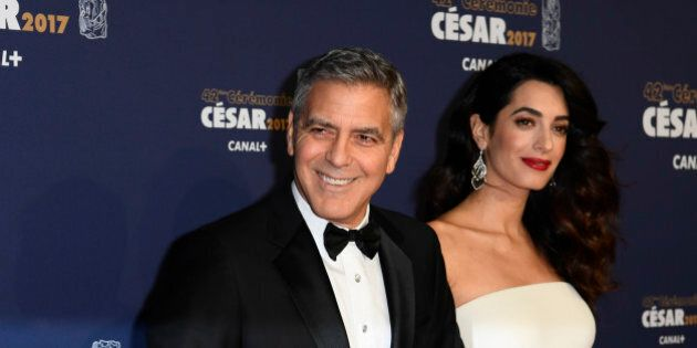 PARIS, FRANCE - FEBRUARY 24: George Clooney and Amal Clooney arrive at the Cesar Film Awards 2017 at...
