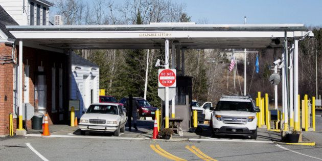 A vehicle entering from Canada pulls into the United States Border Inspection Station in Norton, Vermont,...
