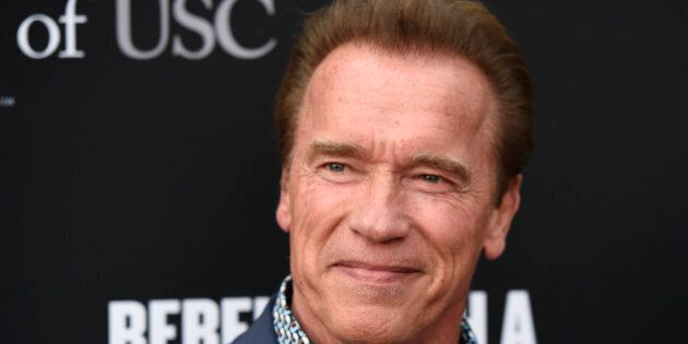 Arnold Schwarzenegger poses at the Rebels With A Cause Gala at The Barker Hangar on Wednesday, May 11,...