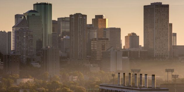EDMONTON, CANADA - JULY 1: The downtown skyline is shrouded in a light smoggy haze on July 1, 2013 in...