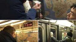 Des usagers s'unissent pour effacer des croix gammées recouvrant un métro