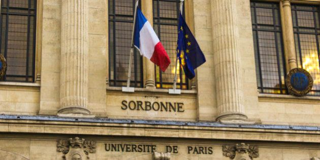 Picture was taken in January 2014. It presents the facade os the University of Paris Sorbonne with and...