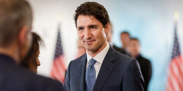 Justin Trudeau, Canada's prime minister, arrives to speak during a roundtable discussion at the 2017...