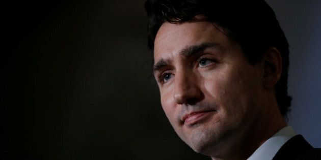 Canada's Prime Minister Justin Trudeau takes part in a news conference on Parliament Hill in Ottawa,...