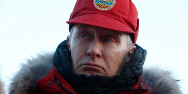 Russian President Vladimir Putin visits Alexandra Land in remote Arctic islands of Franz Josef Land,...