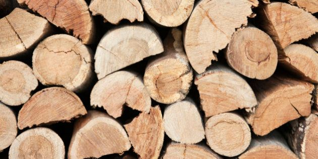 Close-up of a stack of firewood