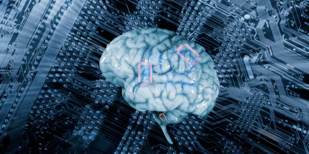 Human brain against a mother-board, artificial-intelligence.