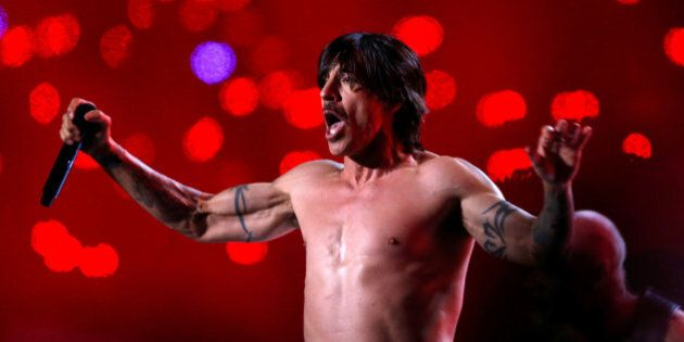 Anthony Kiedis of The Red Hot Chili Peppers performs during the halftime show of the NFL Super Bowl XLVIII...