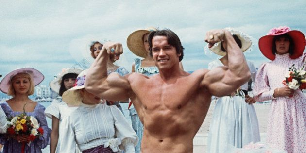 CANNES, FRANCE: Picture taken 19th May 1977 of American actor Arnold Schwarzenegger during the 38th Cannes...