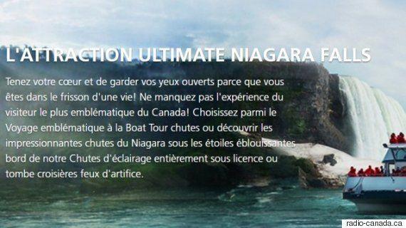 Chutes Niagara : un site web truffé de fautes de