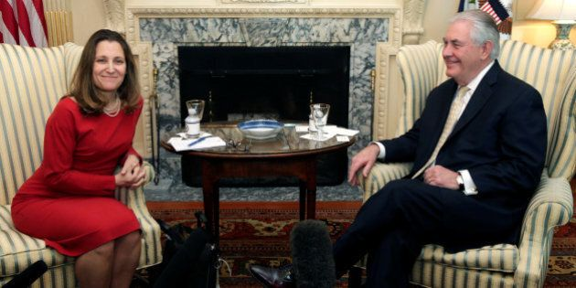 U.S. Secretary of State Rex Tillerson meets with Canadian Foreign Minister Chrystia Freeland at the State...