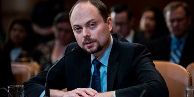 Russian activist Vladimir Kara-Murza speaks during a hearing of the US Senate Appropriations Subcommittee...