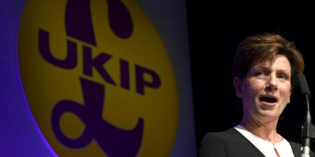 Diane James, the new leader of the United Kingdom Independence Party (UKIP), speaks at the party's annual...