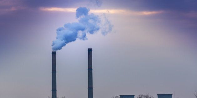 Black smoke spewed from coal powered plant smoke