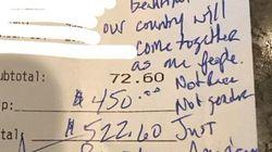 Deux pro-Trump laissent un pourboire de 450 dollars avec un petit mot très
