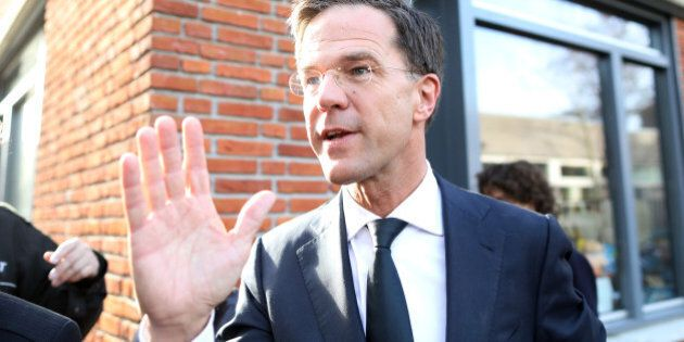 Mark Rutte, Dutch prime minister and leader of the Liberal Party (VVD), speaks to members of the media...