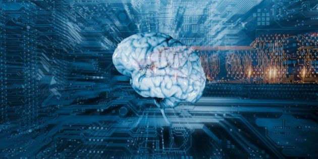 human brain on a computers circuit-board, artificial intelligence and