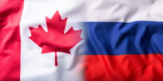 Mixed flag of Russia and Canada.Russia flag and Canada flag.