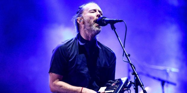 INDIO, CA - APRIL 21: Musician Thom Yorke of Radiohead performs on the Coachella Stage during day 1 of...