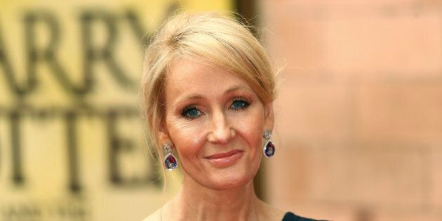 Author J.K. Rowling poses for photographers at a gala performance of the play Harry Potter and the Cursed...