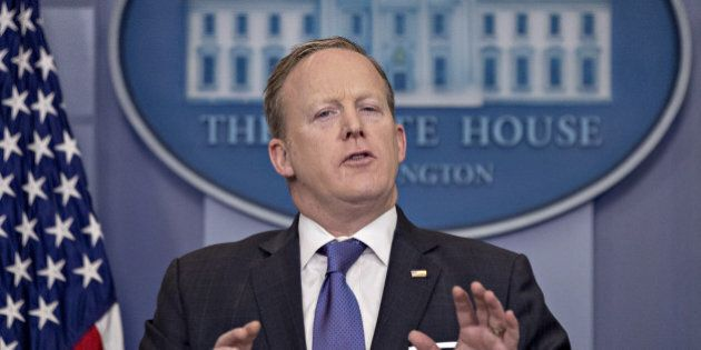 Sean Spicer, White House press secretary, speaks during a press briefing at the White House in Washington,...
