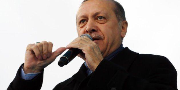 KOCAELI, TURKEY - MARCH 12: Turkish President Recep Tayyip Erdogan addresses the crowd during a mass...