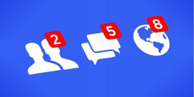Social network notifications icons - Friends, Messages (Chats, Comments) and Notifications on