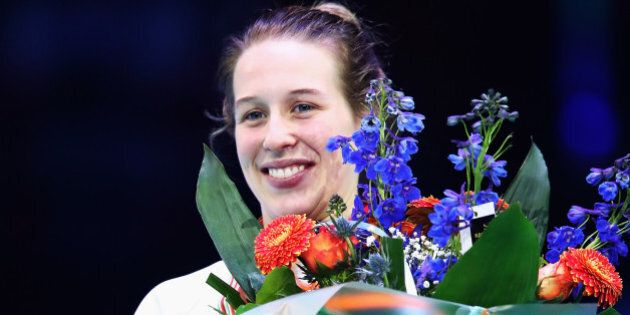 ROTTERDAM, NETHERLANDS - MARCH 12:  Marianne St-Gelais of Canada with the silver medal celebrate on the podium after the Ladies 1000m finals race during day two of ISU World Short Track Championships at Rotterdam Ahoy Arena on March 12, 2017 in Rotterdam, Netherlands.  (Photo by Dean Mouhtaropoulos/Getty Images)