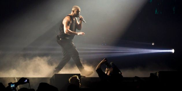 BERLIN, GERMANY - MARCH 09: Rapper Drake performs live during a concert at the Mercedes-Benz Arena on...