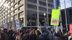 Manifestation à Québec pour des stages