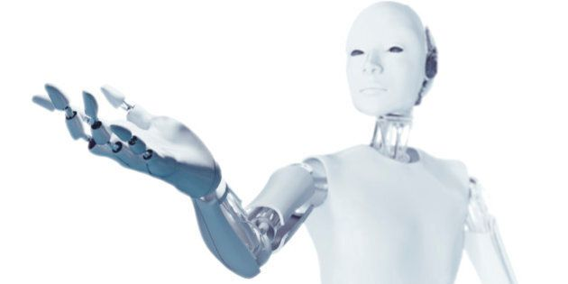 Robot with arm extended, computer illustration.