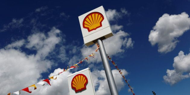 Logos of Shell is pictured at a gas station in the western Canakkale province, Turkey April 25, 2016....