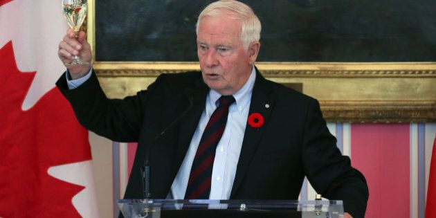 Governor General of Canada David Johnston cheers to Crown Prince Haakon and his wife Crown Princess Mette-Marit...