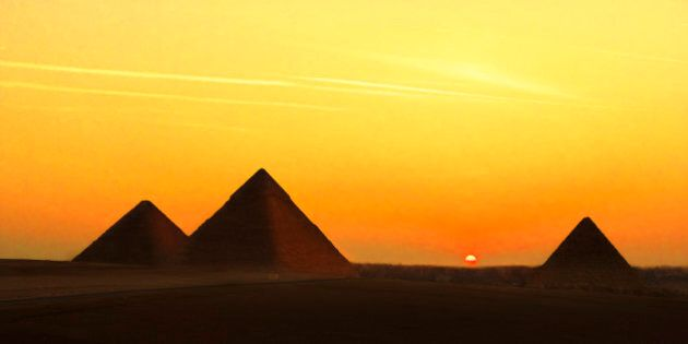 The Pyramids of Giza, Egypt were built about 2,600 B.C.Massive tombs of Egyptian pharaohs, the pyramids...